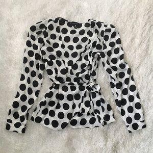 INC White/Black Polka Dot Satin V-Neck Dressy Top